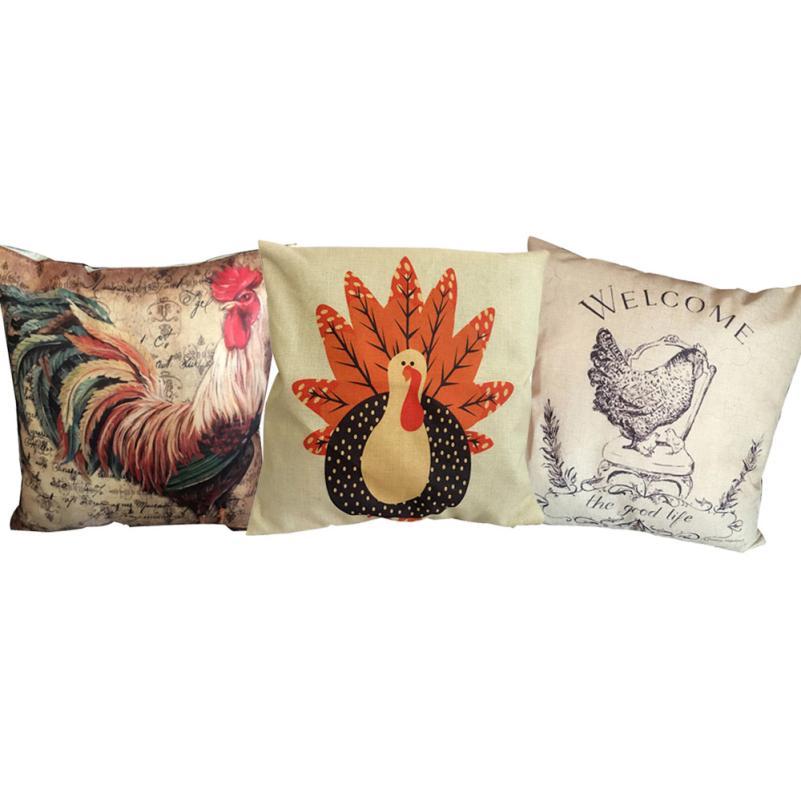 45cm*45cm Turkey Cock Pattern Pillow Case Sofa Waist Throw Cushion Cover  Home Decor 2AU30