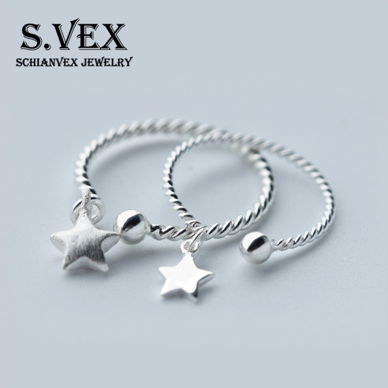 S.VEX 100% 925 Sterling Silver Rings For Women Lucky Star Design Vintage Silver Jewelry  ...
