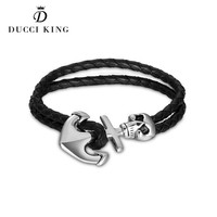 2017 Hot Sales Models Double Weave Leather Bracelet Accessories Silver Anchor Charm Man Tom Hope Skull
