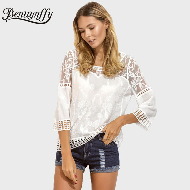 Benuynffy Sexy Beach Cover Up Top Women Summer White Lace Embroidery Blouse  O-Neck Three Quarter Sleeve Hollow Out Blusas X270 9089a7ba99