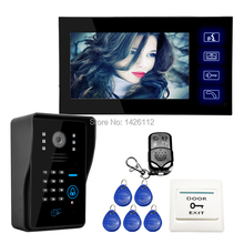 FREE SHIPPING Wired Touch Key 7 inch Lcd Home Video Door Phone Intercom System 1 Monitor 1 ID Code Keypad Camera IN STOCK SALE
