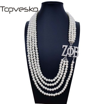 Topvekso יוון יווני אחוות זיטה Phi Beta לבן פנינה ZPB תליון רב שכבתי הצהרת תכשיטי ארוך קולר