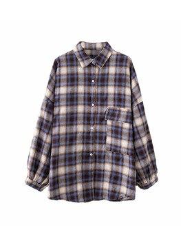 9d78e9a24f00 Модная женская Клетчатая блуза с длинными рукавами, рубашка с отложным ...