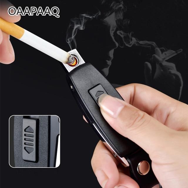 2017 novo usb isqueiro recarregável eletrônico isqueiro chaveiro cigarro turbo isqueiro couro chaveiro sem chama charuto palsma