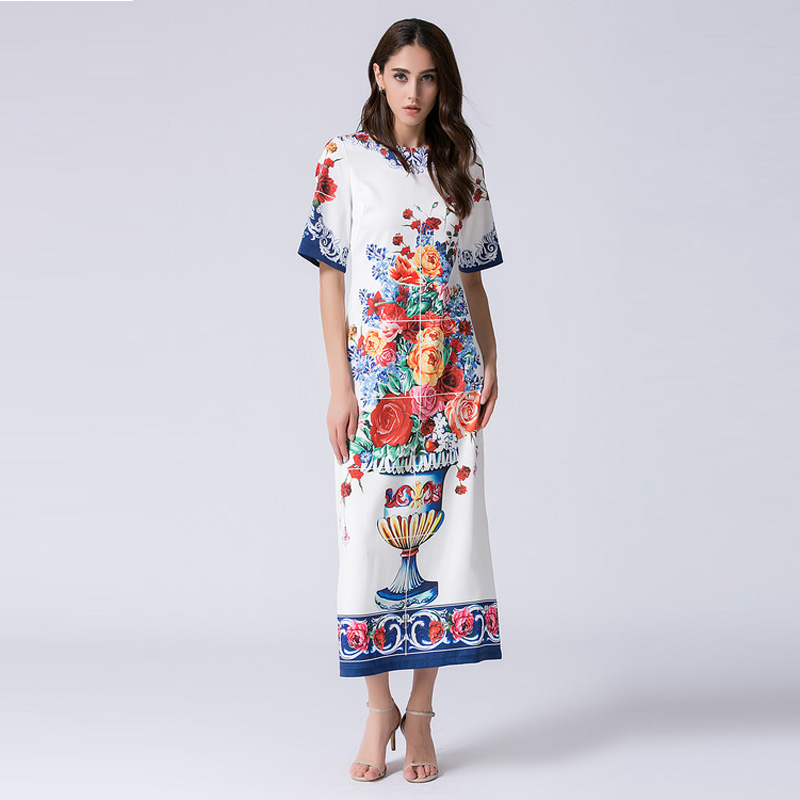 US $50.56 21% OFF|Custom Plus Size Dress S 7XL Europe Summer Newest O Neck  Short Sleeve Flowers Vase Print Fashion Mid calf Long Dress Women 12213-in  ...