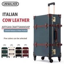 UNIWALKER 20 22 24 дюймов из коровьей кожи Чемодан из натуральной кожи Винтаж дорожного чемодана классический ретро багаж с Spinner колеса