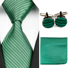 Mens Accessories Solid Striped Slim Business Silk Tie + Hanky Handkerchief + Cufflinks Sets