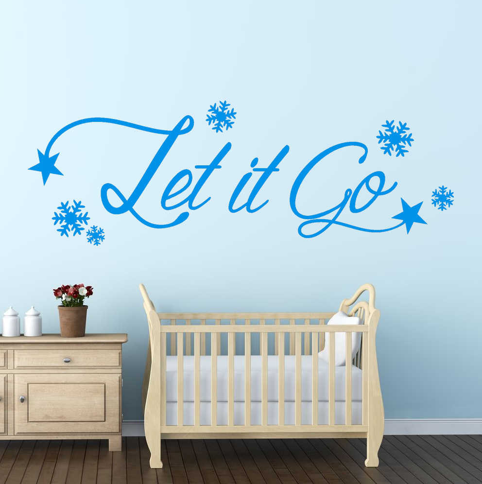 Let It Go FROZEN Wall Art Sticker Quote Kids Room Snowflakes Wall  Decoration Decal DIY Vinyl Christmas Decor Wall Sticker M 213