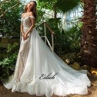 Роскошное кружевное свадебное платье с аппликацией 3d свадебное платье с цветами с открытыми плечами свадебное платье Съемный Тюль хвост