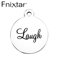 Fnixtar Full Polished Stainless Steel Laser Lettering Relax Chef Message Charm Pendants for Neckalce Making 10 Piece/lot