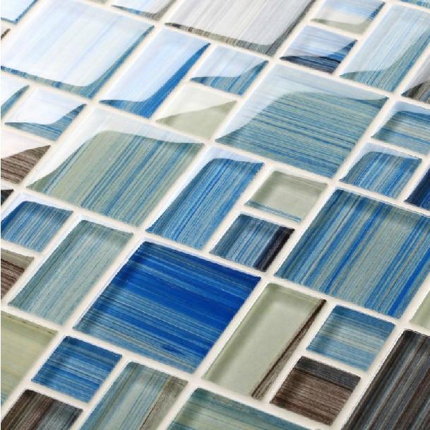Hand Painted Glass Tile Backsplash Mediterranean Sea Interior Wall Tiles Bathroom Backsplash