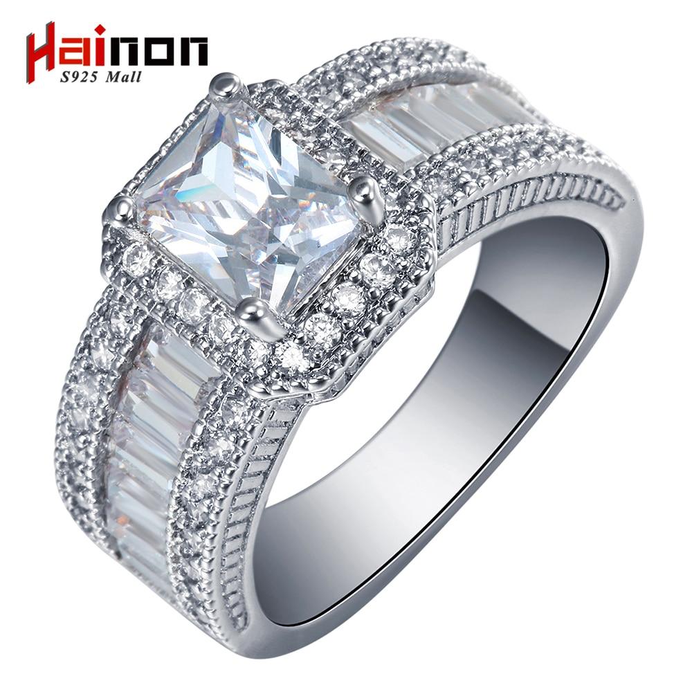 2017 Kvadratna obljuba Obroči nov srebrni nakit velike velikosti 7 8 9 Beli kubični cirkonski ženski Zaročni prstan