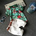 Новый Дети Мальчик Одежда Хлопок рубашки Поло Футболки Топы + Шорты 2 шт. Наряды Набор