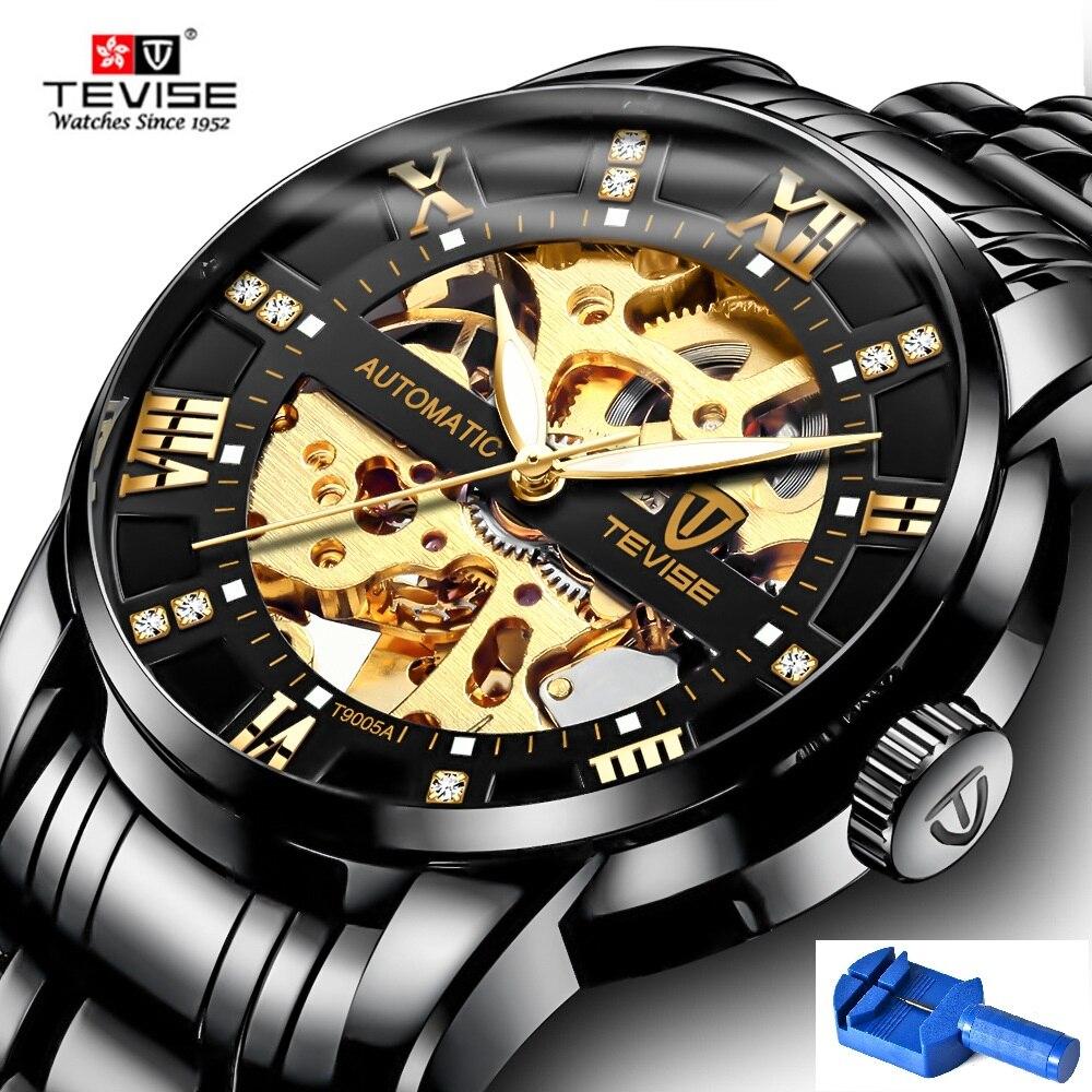 b1623a0ba56 Automatic Skeleton Relógios TEVISE T9005A Escala Diamante Mãos Luminosas Homens  Relógio Mecânico Masculino Relógio Clássico Relógios De Pulso 2018