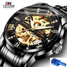 Automatique squelette montres TEVISE T9005A diamant échelle lumineux mains hommes montre mécanique mâle horloge classique montres 2019