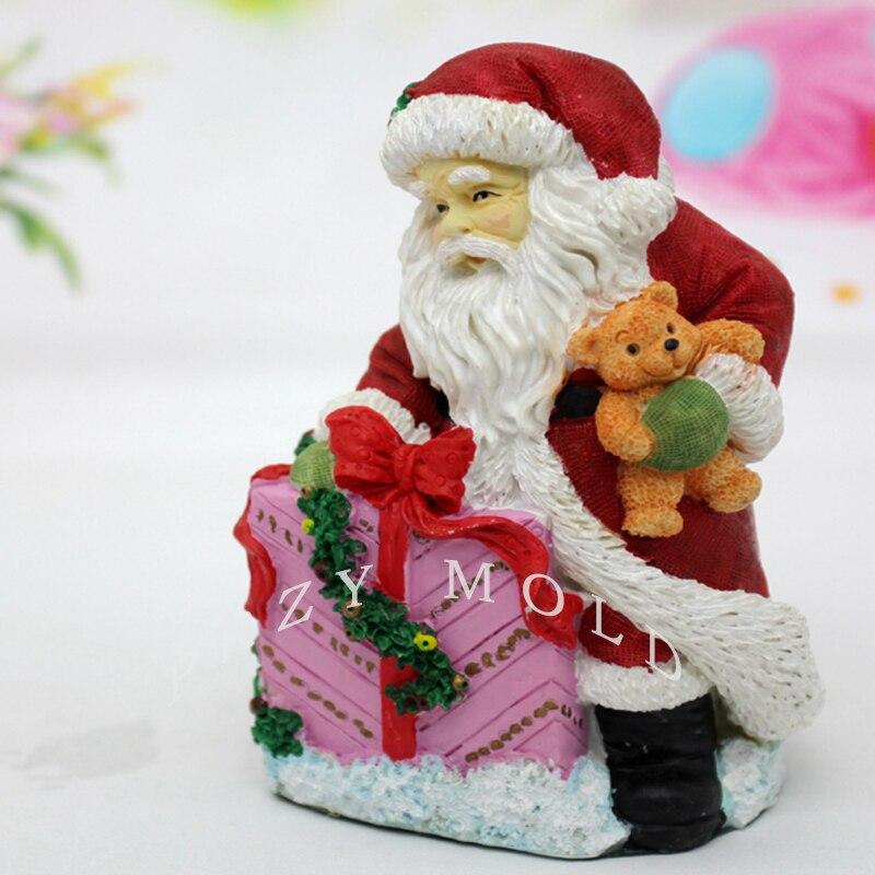 PRZY silikonová forma Vánoce 3d Santa Claus drží dárek krásné svíčky plísní pro vánoční dekorace ručně vyráběné mýdlové formy