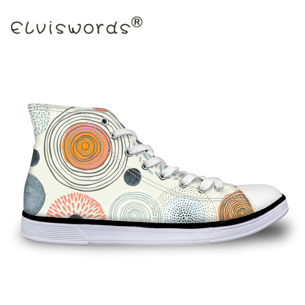 ELVISWORDS Fashion 3D Geometry Printed Women Vulcanize Shoes High Top Casual Canvas Shoes for Ladies Flats Sneaker Womens Shoe