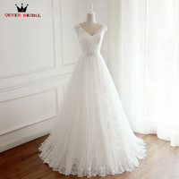 Custom Made A Line V Neck Lace Tulle Long Formal Elegant Romantic Wedding Dresses Bridal Marriage