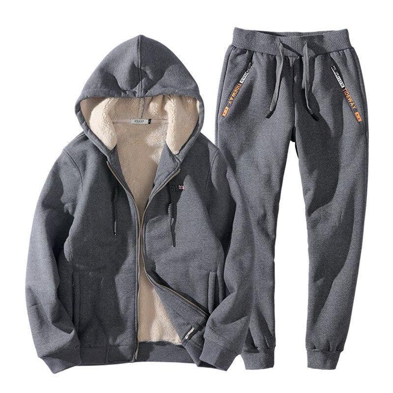 2019 Fashion Winter Men Sweat Suit Hoodies Jacket+Pants Cashmere Thick Sportswear Two Piece Set Fleece Tracksuit For Men Clothes