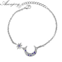 Anenjery Brand Hot Sale 925 Sterling Silver Micro CZ Moon Star Bracelet For Women Zircon Jewelry pulseira S-B189(China)