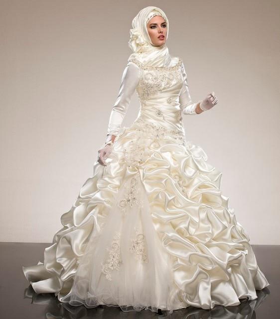 Саудовская Аравия Абая Длинные Рукава Мусульманские Свадебные Платья Бальные Платья Оборками Хрустальные Штапики Драпированные Свадебные Платья Хиджаб