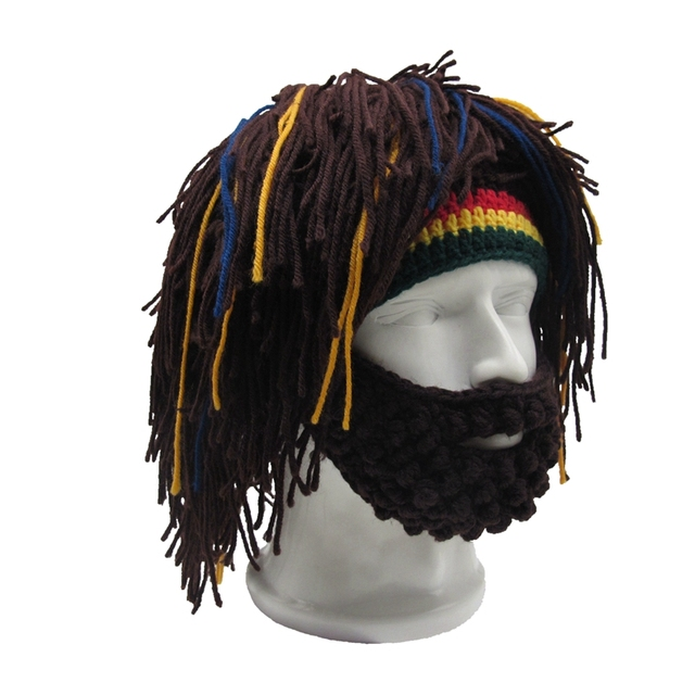 Handmade Mens Rasta Hat with Beard Jamaica Beanie Knit Crochet Bob Marley Reggae  Style Cap Cosplay 4ed9594c4