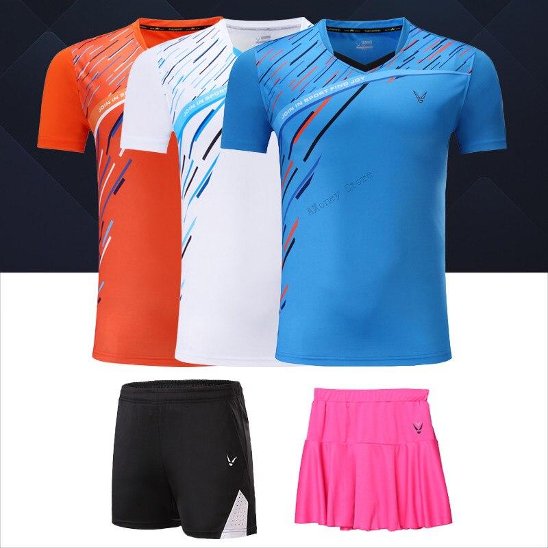 Adsmoney Women Men Tennis Shirts + Shorts Skorts Sports outdoor Top quality Badminton Table Tennis Skirts
