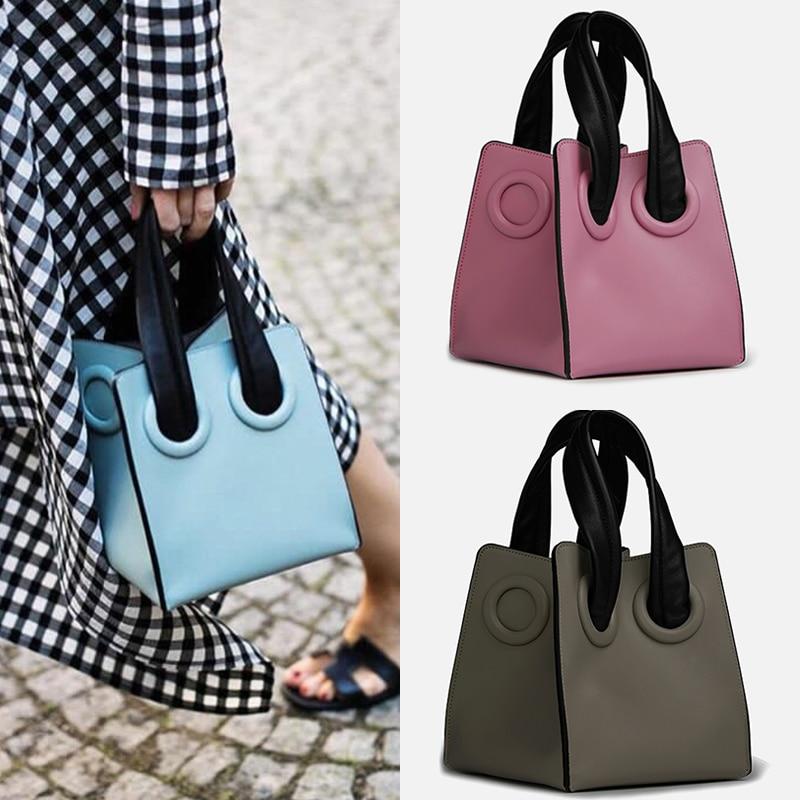 AUTEUIL Box-Shaped Handbags Women Solid Top-Handle Bag Female Leather Handbag New Arrival Women Bags Leather Handle Bags EH047