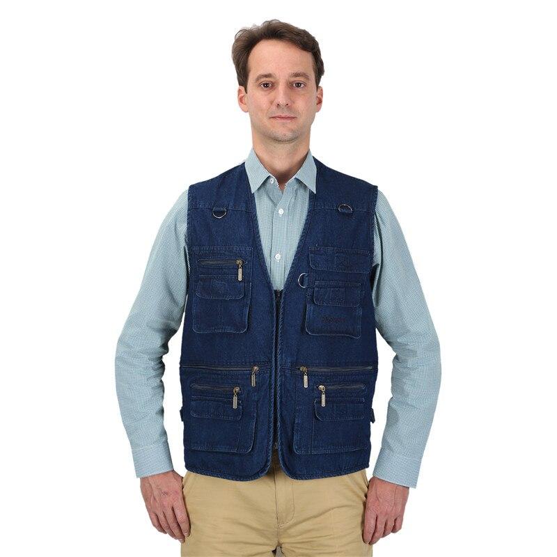 Homme Denim gilet coton bleu vestes avec beaucoup de poches col en v homme survêtement sans manches gilet extérieur gilet grande taille