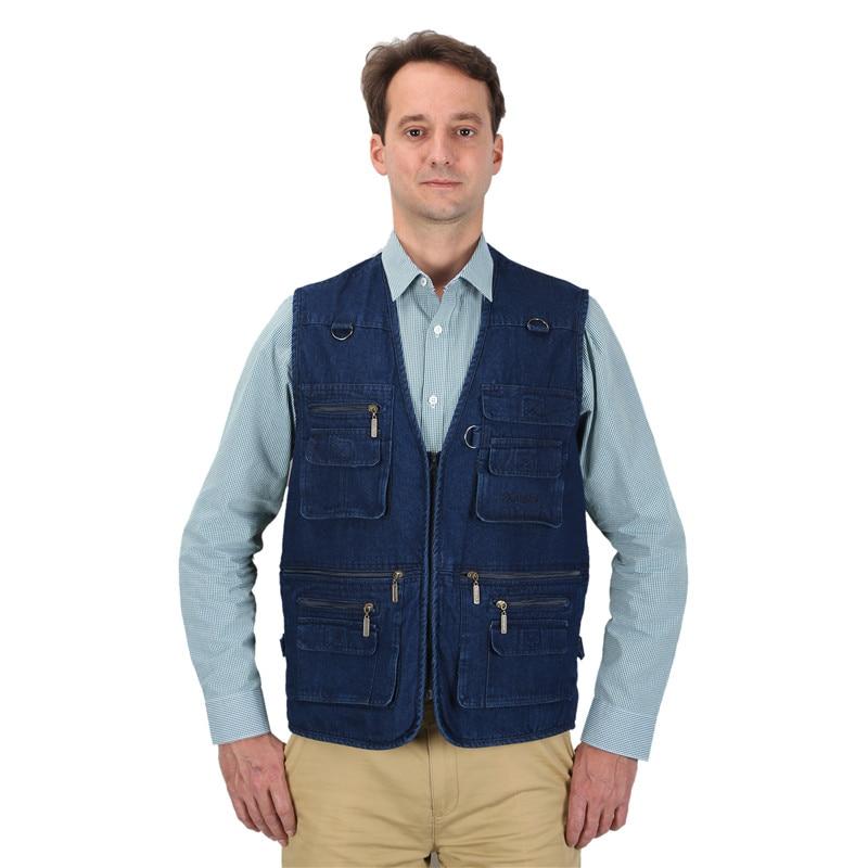 Jachete de damă pentru bărbați Jachete cu bumbac albastru, cu multe buzunare V-Neck bărbați Outerwear Sleaveless waistcoat În aer liber Vest Plus Mare Dimensiune