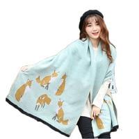 2017 New Winter Scarfs Women Printing Cashmere Fox Fashion Thick Warm Women Scarves Shawl