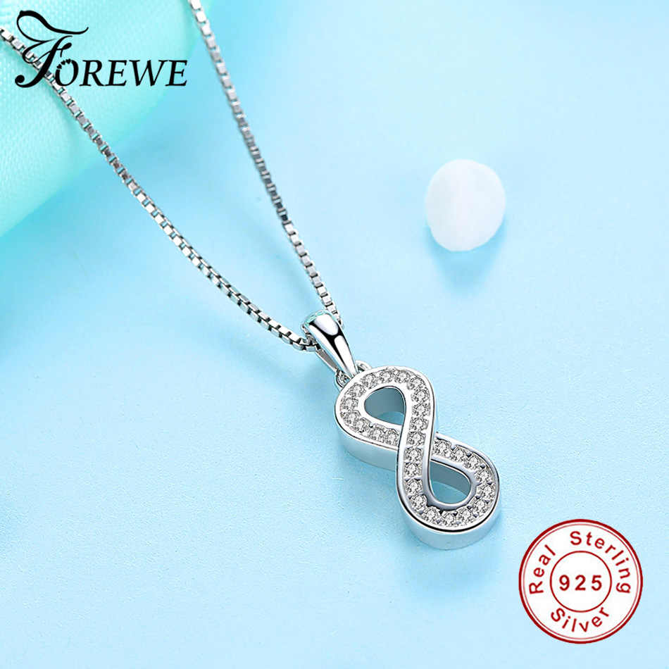 Forewe AAA Brilliant Austrian CZ Infinity 8 Pendant Necklaces For Women 925 Silver Necklace Wedding Jewelry