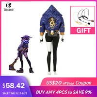ROLECOS KDA Akali Cosplay Costume LOL AKALI Cosplay Costume LOL K/DA Women Outfit Coat Pants Gloves Bag Halloween