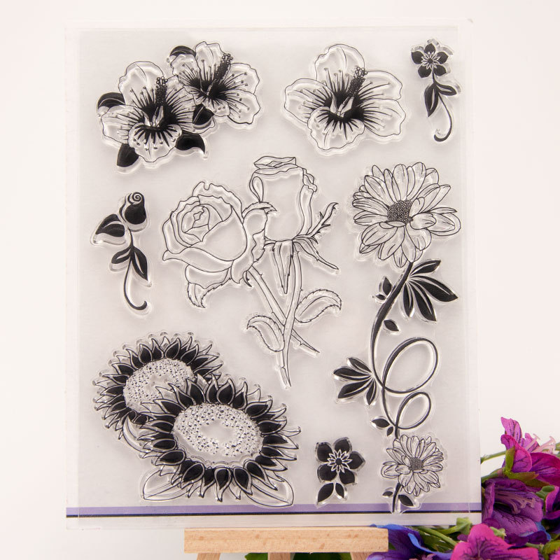 New Flowers Rose Transparent Clear Stamps Silicone Seal for DIY Scrapbooking Card Making Photo Album Decoration Supplies Crafts in Stamps from Home Garden