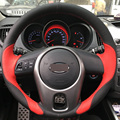 Red Black Leather DIY Hand-stitched Steering Wheel Cover for Kia Forte Kia Soul Kia Rio 2009-2011