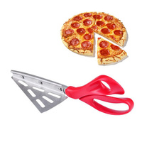 2 In 1 Professional Stainless Steel Pizza Scissor Shovel Knife Pizza Cutter Non Stick Soft Rubber