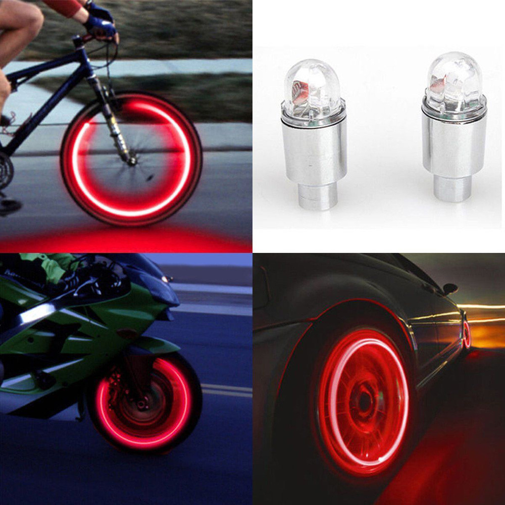 2x LED Tire Valve Stem Caps Neon Light Auto Accessories For Bike Bicycle Car