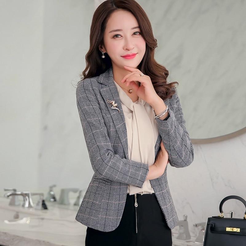 Autumn Korean Version Women Suit 2019 New Style Winter One Button Xxxl Designs Female Work Wear Fashion Slim Casual Short Tops