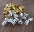 100 de Ouro E Prata Misturados Contas Dreadlock Trança Do Cabelo Ajustável Cuff Clipe 8mm Buraco