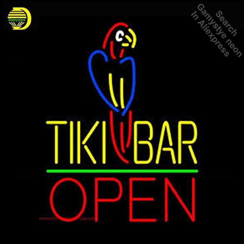 Tiki Bar avec perroquet ouvert néon enseigne néon véritable verre Tube bière BAR PUB lumière signe magasin affichage artisanat signe emblématique