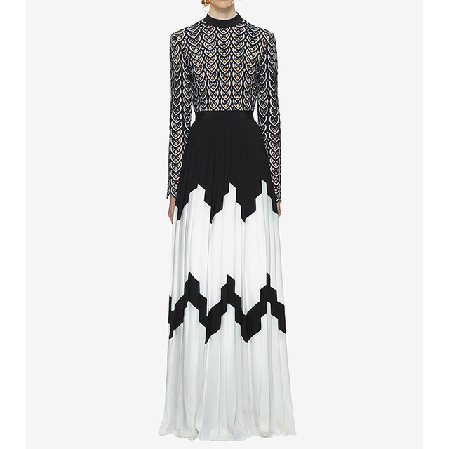 f38cba0b2957f 2019 new arrival women dress wholesale black & white patchwork long maxi  dress party dress dropshipping