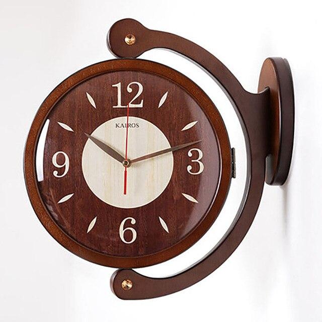 Solid Wood Clock Double Sided Wall Clock Nordic Modern Pow Patrol Design Guess Women Silent Electronic Quartz Home Decor 50Q332