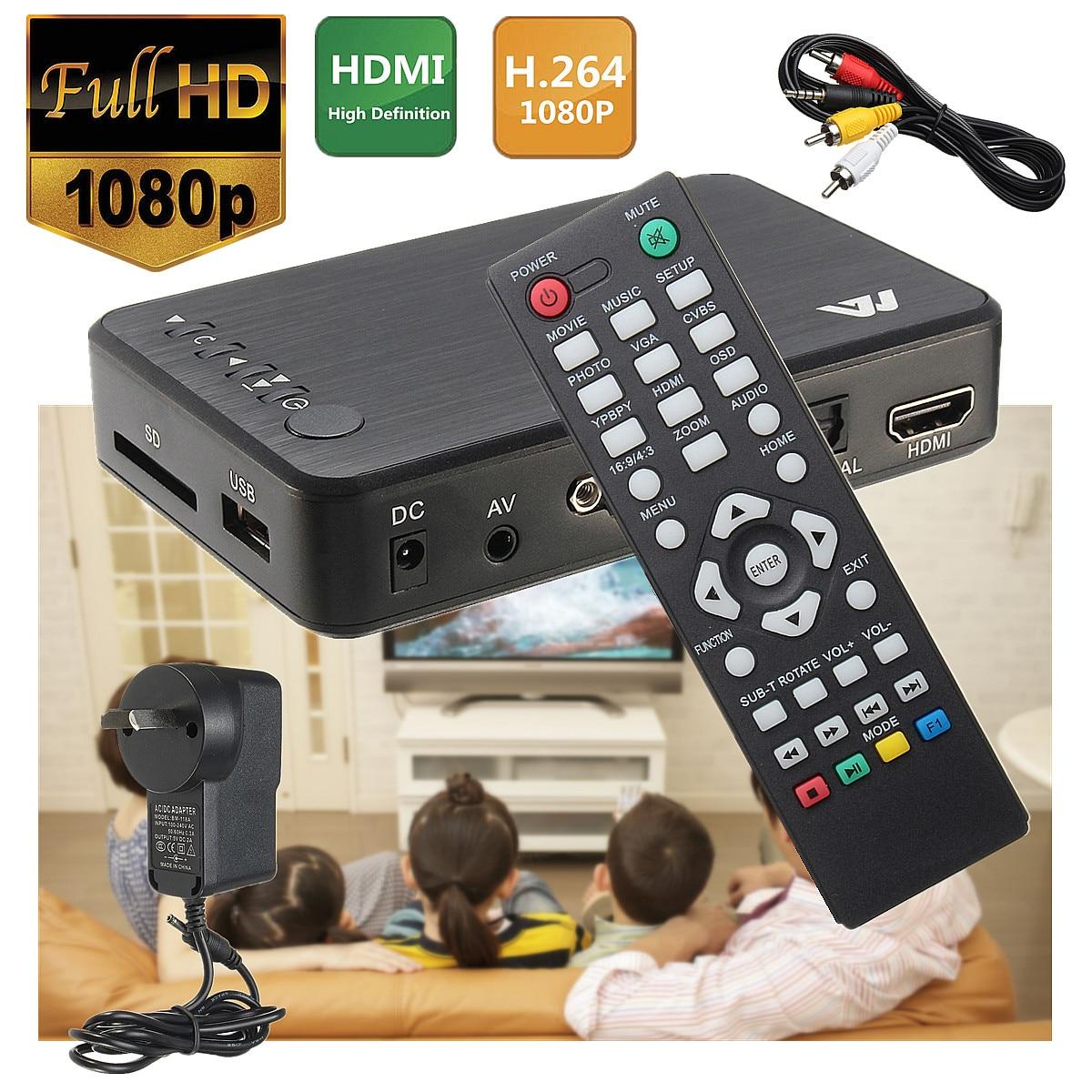 Completa 1080 P HD Multi Media Player com HDMI/VGA/AV w/CAIXA De TV Controle Remoto 3 FAT32 NTFS Saída DA UE/REINO UNIDO/EUA/AU Portátil Fácil Instalação