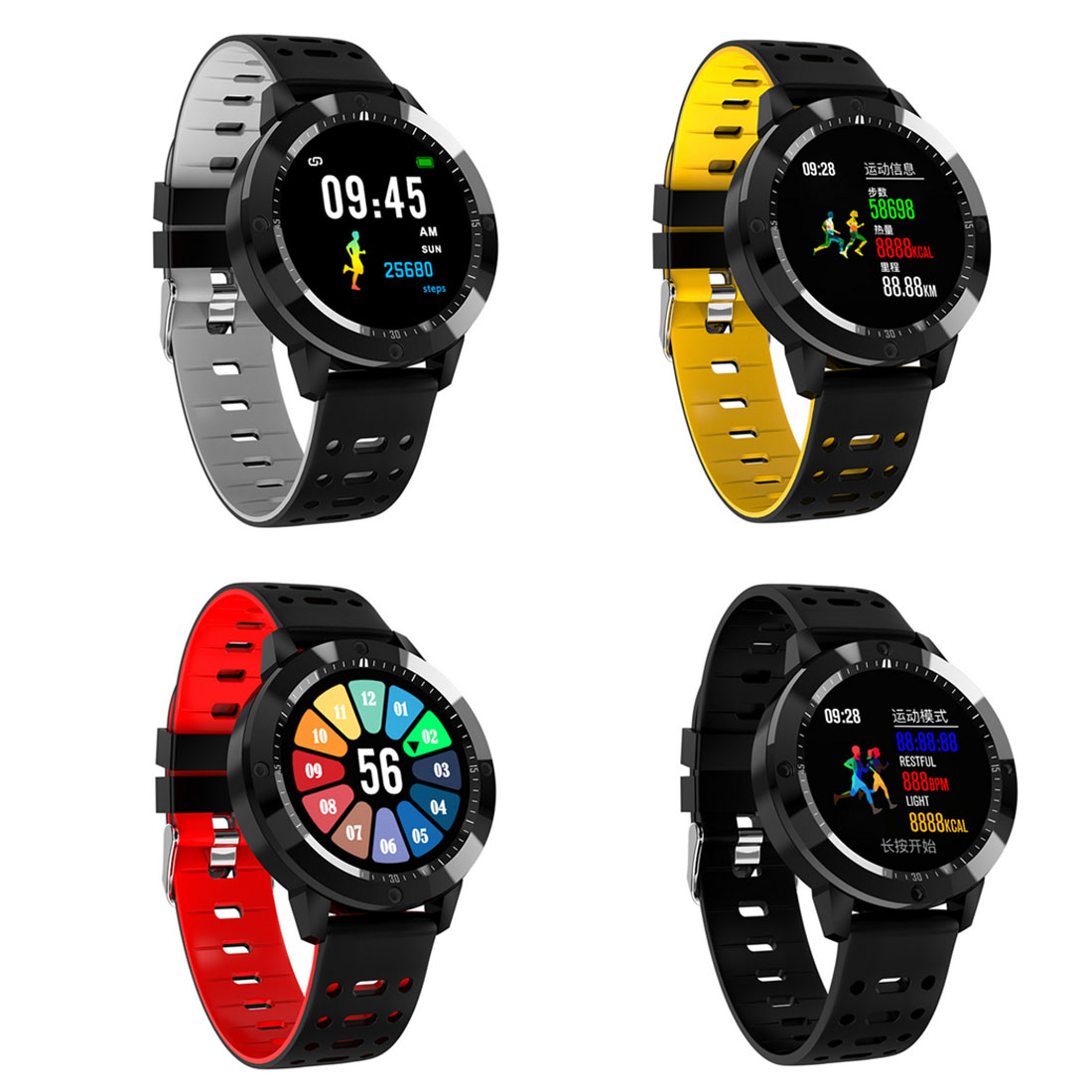 CF58 Smart watch IP67 waterproof Tempered glass Activity Fitness tracker Heart rate monitor Sports Men women smartwatch colmi v11 smart watch ip67 waterproof tempered glass activity fitness tracker heart rate monitor brim men women smartwatch