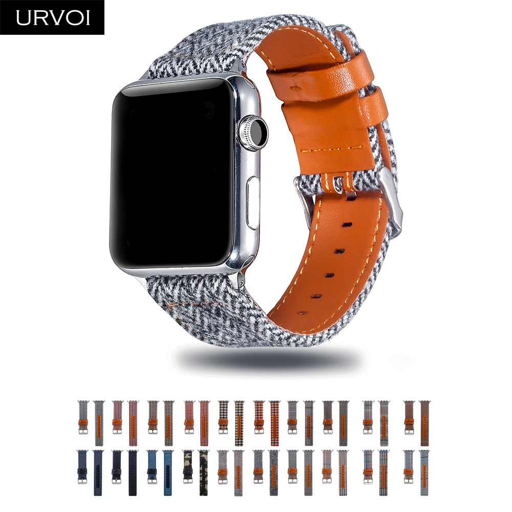 URVOI Canvas band for Apple Watch series 4 3 2 1 wrist Jean strap for iwatch Houndstooth pattern classic design leather back