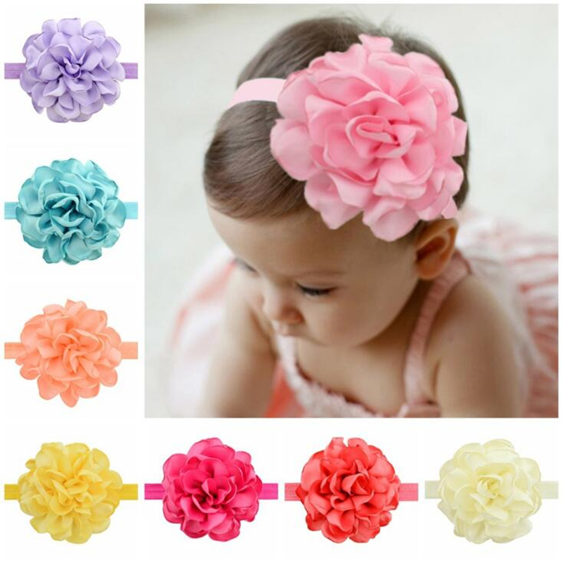Lovely Baby Girls Lovely Big Flower Elastic Headband Bandage on the head Newborn Boutique Soft Solid Hair Accessories Headwear