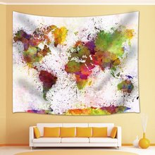 art splatter painting decor watercolor world map tapestry wall hanging for bedroom living room dorm