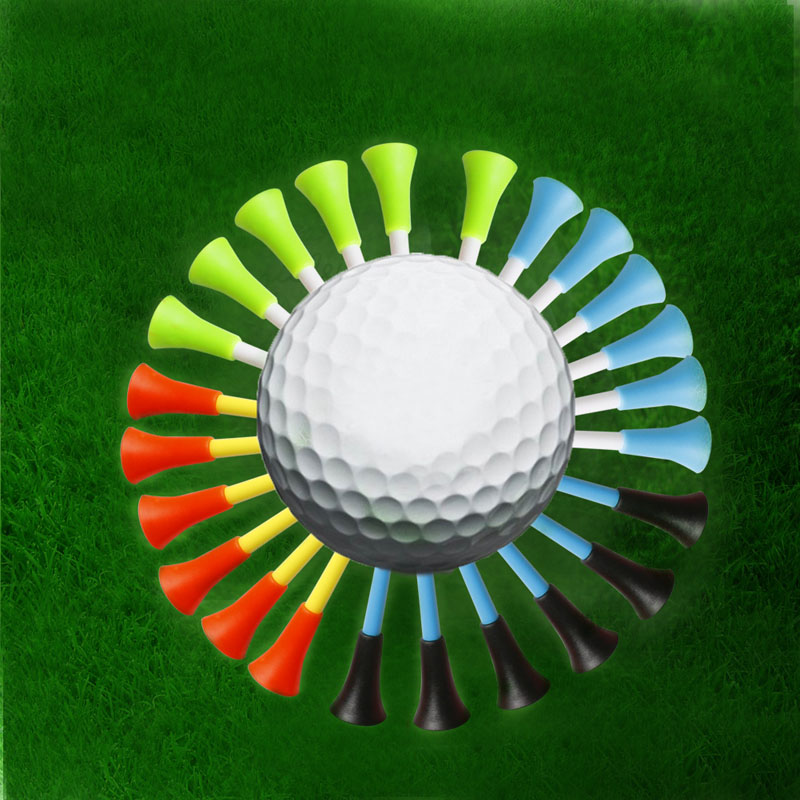 50pcs Golf Tools 83mm Multicolor Plastic Golf Tees Rubber Cushion Professional W15