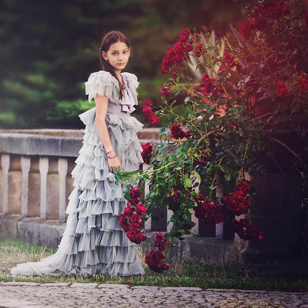 New Fashion Children's Layered Dress Birthday Piano Performance Party Gray Princess Dresses Girls Puff Sleeve Wedding Dress T03 puff sleeve peplum top