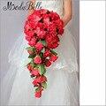 2016 Индивидуальные Красный Свадебный Букет Шелковый Каскад Роза Букет Для Невесты с Цветами в Руках Элегантный Teardrop Свадебные Buque Vermelho